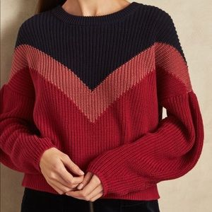 1. State color blocked chunky sweater. Navy/berry